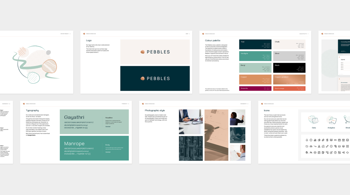 A layout showing several pages of a brand guidelines document