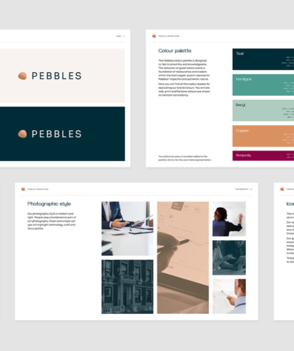 Several slides of a Brand Guidelines document
