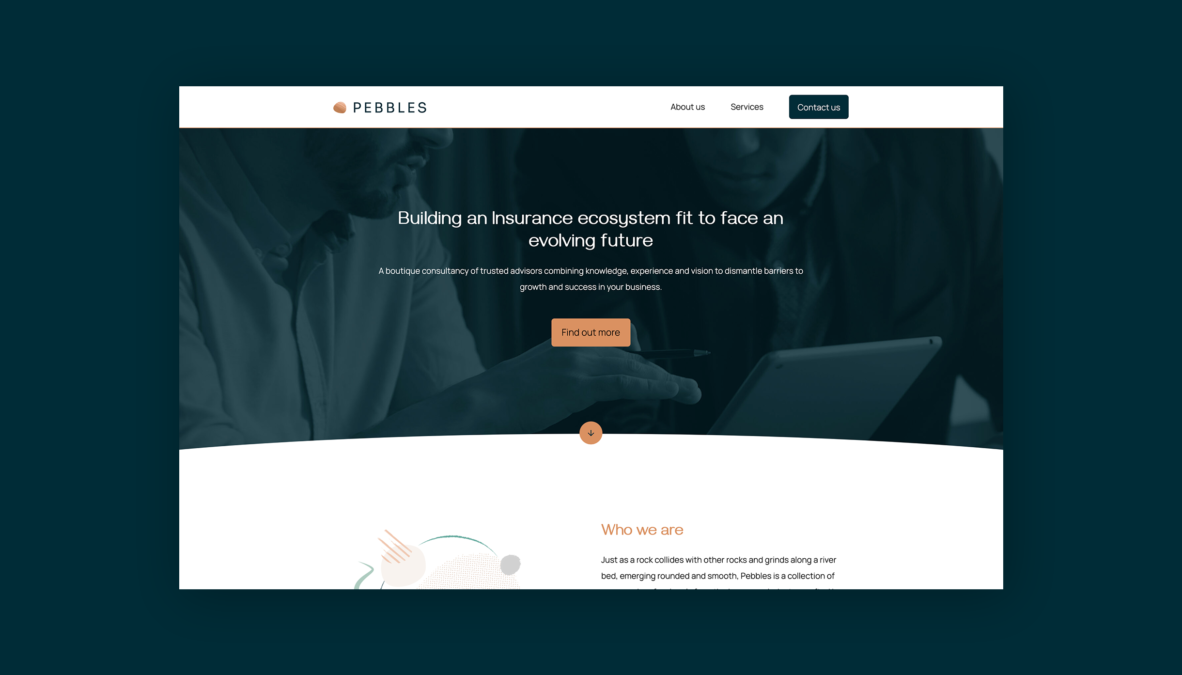 An image showing the landing screen of the Pebbles website