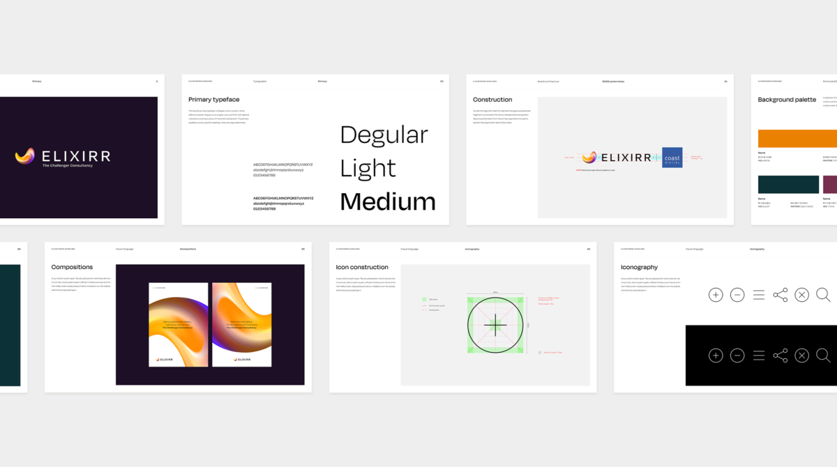 A selection of screens from the Brand Guidelines document showing how the brand should be used.