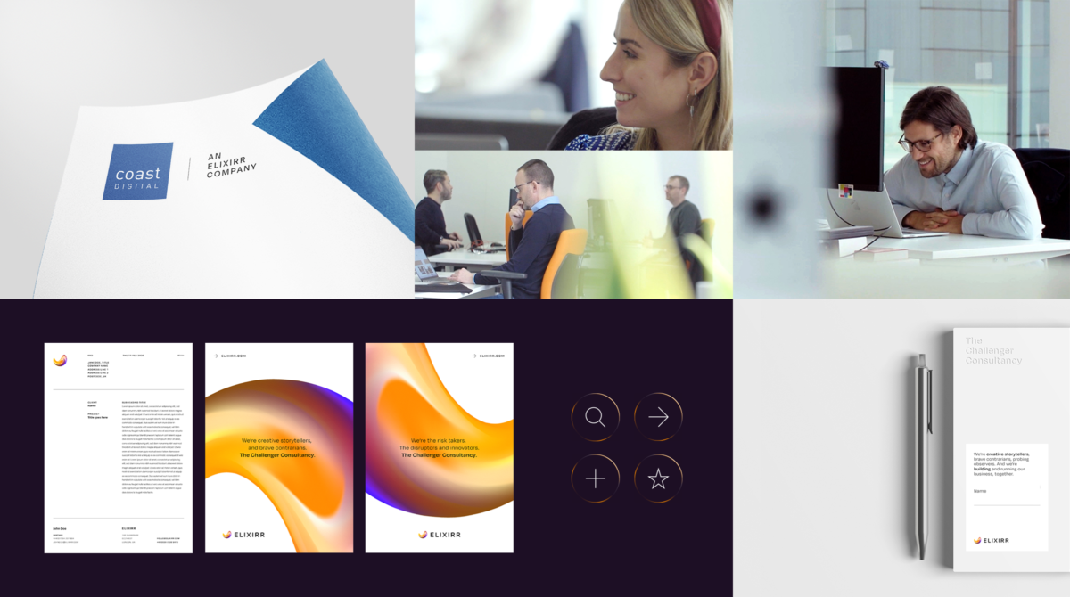 A montage of images representing the holistic Elixirr brand including print layouts, photography of people in offices and stationary designs