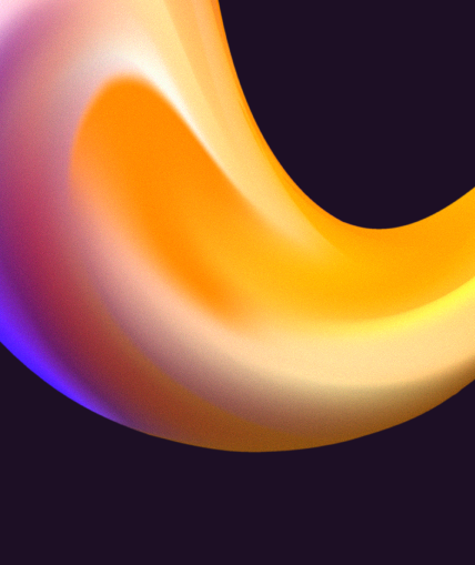 A close up of the Lex, which forms the Elixirr logomark. A yellow, orange and purple 3D shape.