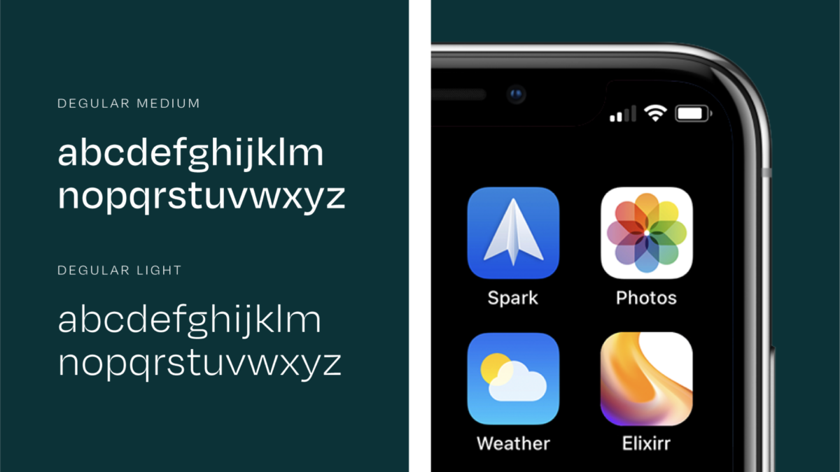 Typography example on a dark green background and close up of app icon example