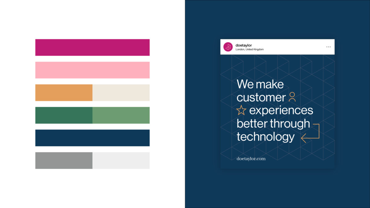 Doetaylor's brand colour palette and an example social media post